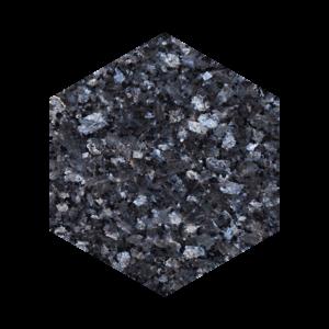 Heksagon flis i blågrå norsk naturstein med blå og sølv feltspatkrystaller