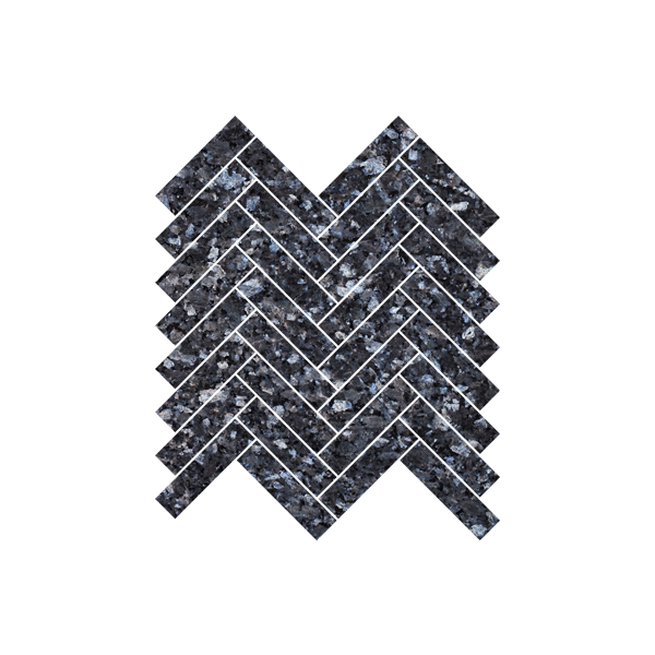 Blågrå natursteinsfliser med blå og sølv feltspatkrystaller. Ligger i mini-fiskebeinmønster på nett.