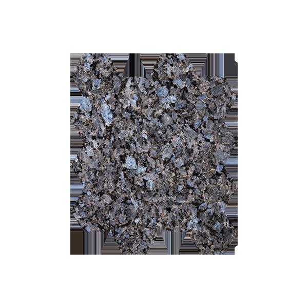 Lysegrå natursteinsfliser med blå og sølv feltspatkrystaller. Ligger i mini-heksaonmønster på nett.